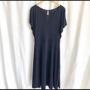 Anne Taylor navy blue butterfly sleeve midi dress